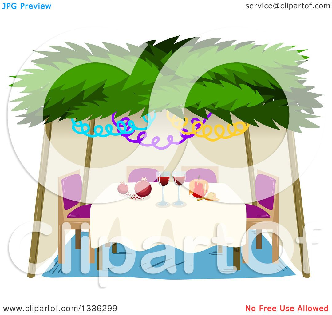 Clipart of a Jewish Sukkah for Sukkot with a Honey Apple, Wine and  Pomegranates - Royalty Free Vector Illustration by Liron Peer - Sukkah PNG Free