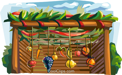 Sukkah with decorations for the Sukkot Royalty Free Vector Clip Art  illustration - Sukkah PNG Free