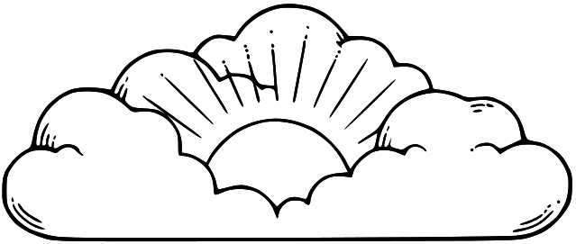 Cloud Black And White Heaven Clipart Black And White Clipartfest intended  for Sun And Clouds Clipart - Sun And Clouds PNG Black And White