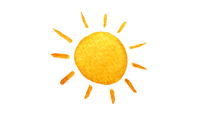 Cute Cartoon Sun Painted In Watercolor. Seamless Loop Animation. Hand Drawn  Illustration On Transparent Background. PNG   Alpha Channel. - Sun PNG No Background Png