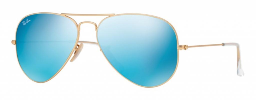 Ray Ban Blue Mirrored Aviator Sunglasses - Sunglass PNG