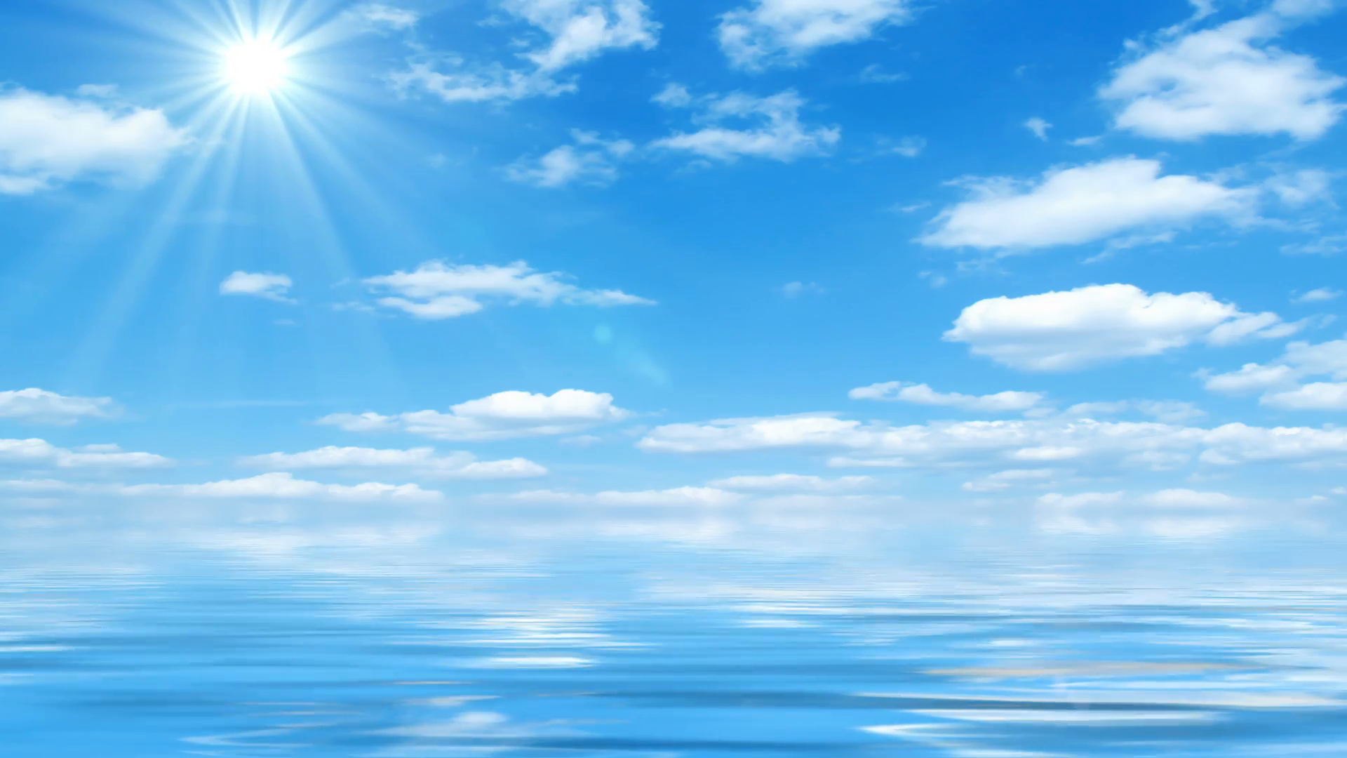 Beautiful Sea On Sunny Day With Blue Sky Reflecting In Water - Beautiful  sea horizon, sunshine, blue sky with fluffy clouds and water reflection. - Sunny Sky PNG