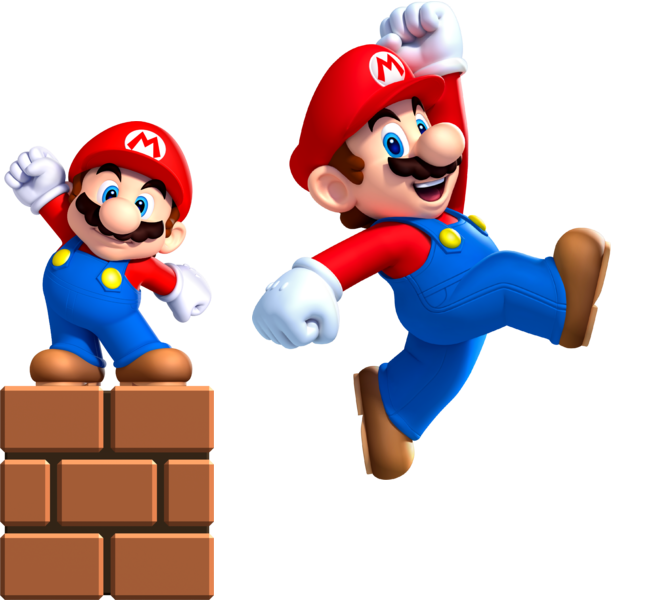 Small Mario and Super Mario.png - Super Mario PNG