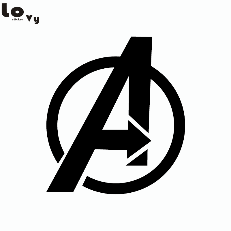 80s Superhero The Avengers Logo Vinyl Wall Sticker for Kids Room Home  Decor-in Wall Stickers from Home u0026 Garden on Aliexpress pluspng.com   Alibaba Group - Superhero PNG Black And White