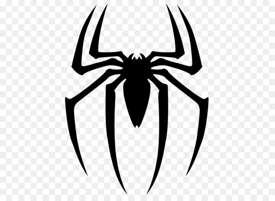 Spider-Man Superhero Clip art - Black spider siluet logo PNG image - Superhero PNG Black And White