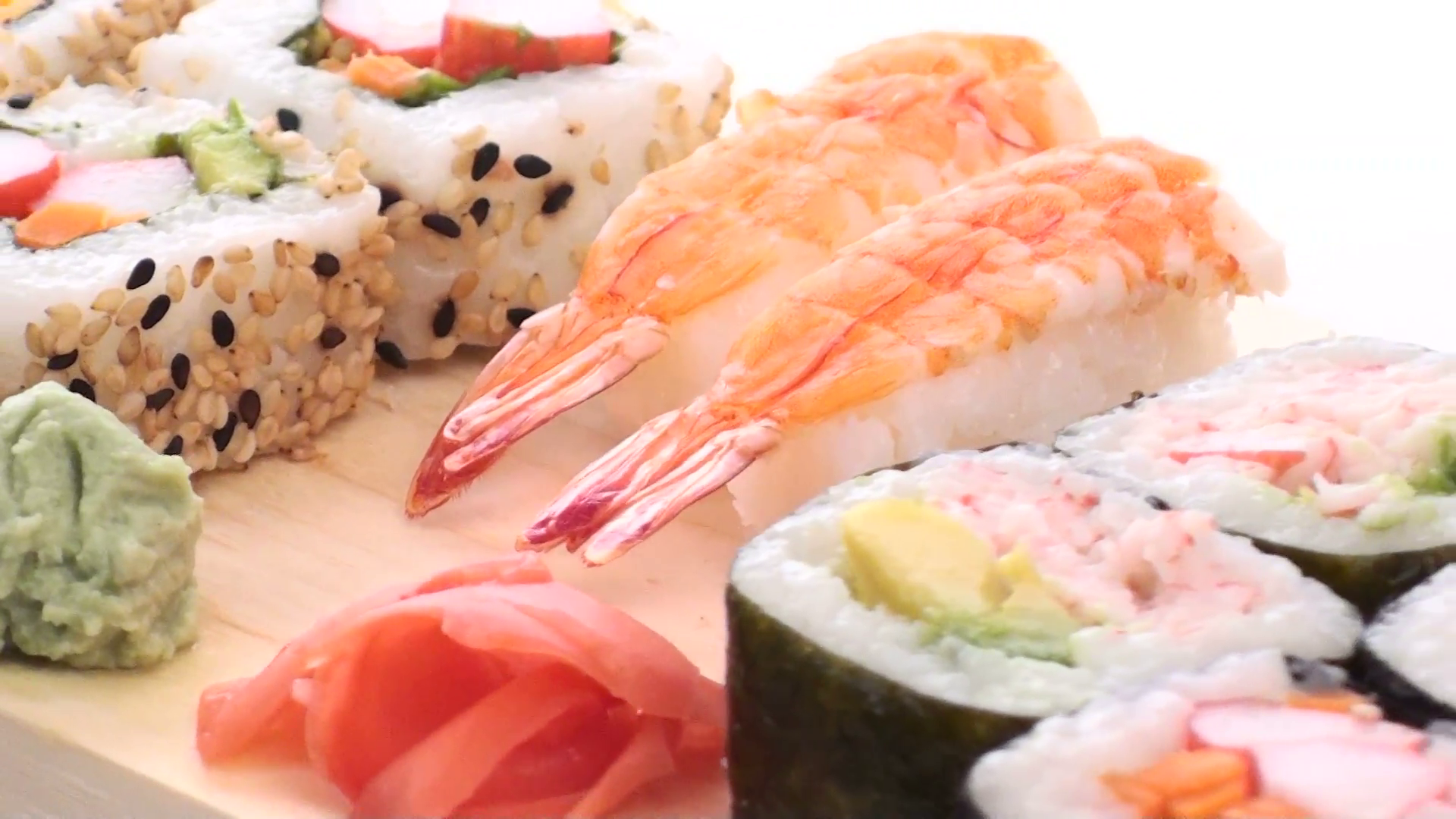 Sushi on wooden platter zoom out - HD Stock Video Footage - VideoBlocks - Sushi HD PNG
