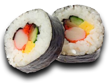 This is also known as the sushi roll. It generally includes a vinegar rice  and other ingredients like fish and vegetables, tightly rolled in nori, PlusPng.com  - Sushi Roll PNG