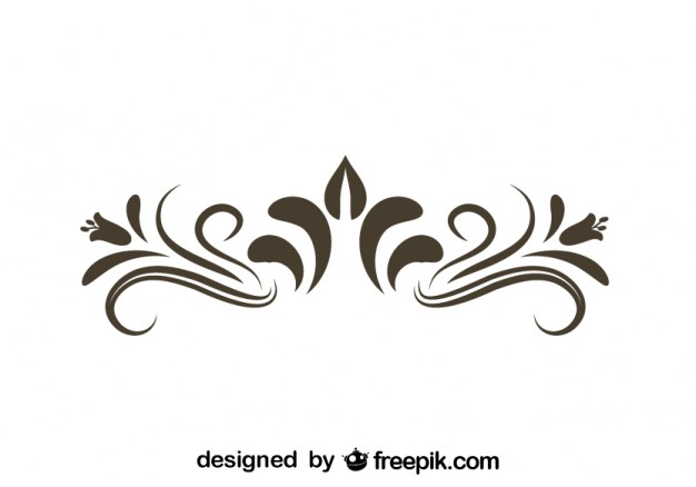 Retro Floral Decorative Graphic Element - Swirls PNG