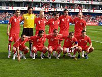 The Swiss line-up against China, just before World Cup 2006 - Swiss Football Team PNG