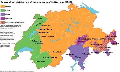 Map Of Languages In Switzerland - Switzerland PNG