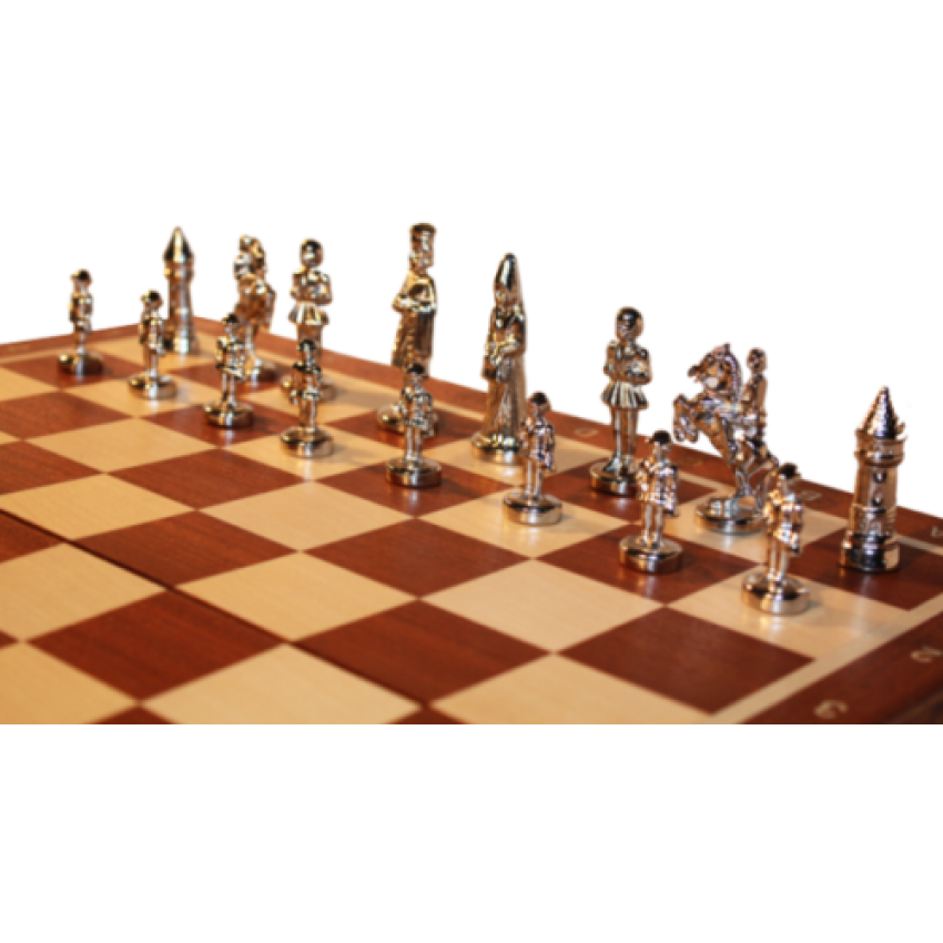 Szachy Warszawskie - z metalowymi figurami (S-0001) - Szachy Figury PNG