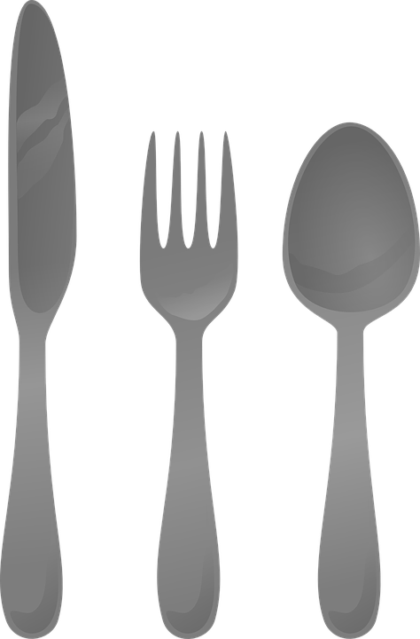 Kuchenne, Srebrna, Sztućce, Łyżka, Widelec, Nóż - Sztucce PNG