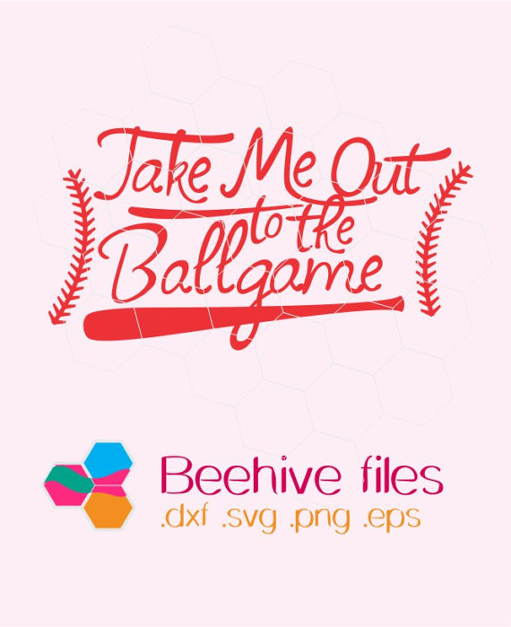 Take Me Out To The Ballgame In Svg, Dxf, Png, Eps Format. Instant Download  For Cricut Design Space And Silhouette Studio From Beehivefiles On Etsy  Studio - Take Me Out To The Ballgame PNG