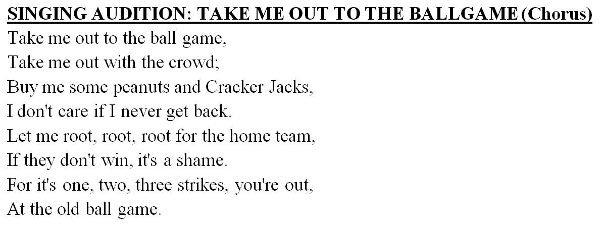 Take Me Out To The Ballgame Lyrics - Take Me Out To The Ballgame PNG