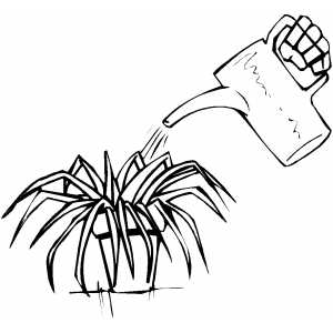Watering Plant Coloring Page - Taking Care Of Plants PNG Black And White