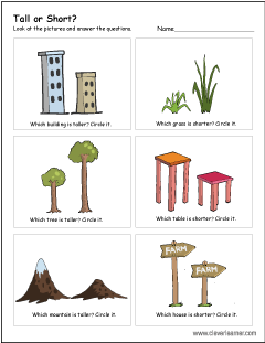 Free short vs tall worksheet for kids PlusPng.com  - Tall And Short Objects PNG