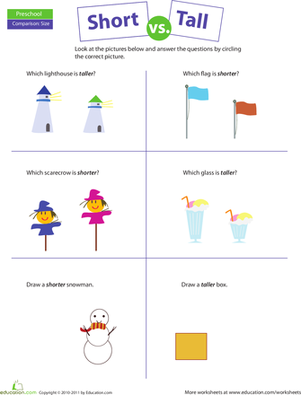Preschool Math Worksheets: Comparing: Short vs. Tall - Tall And Short Objects PNG