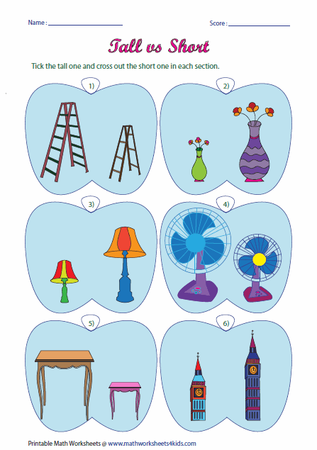 tall short worksheets kinderg