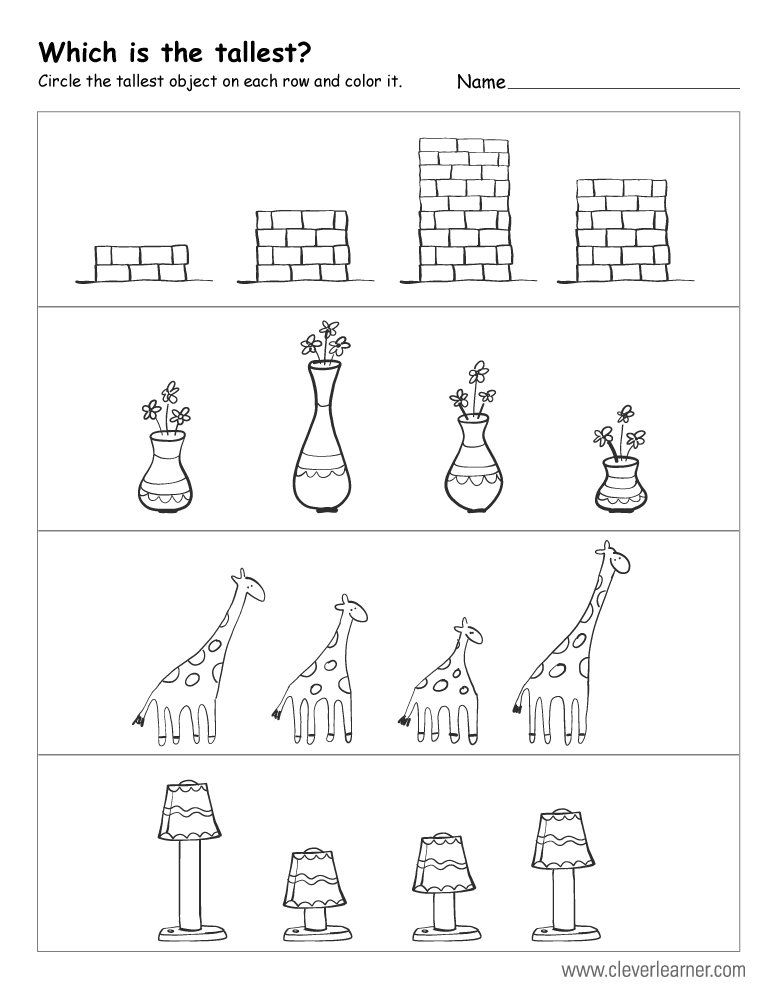 Which is the tallest worksheets for preschool children PlusPng.com  - Tall And Short Objects PNG