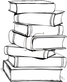 Tall Stack Of Books PNG Black And White