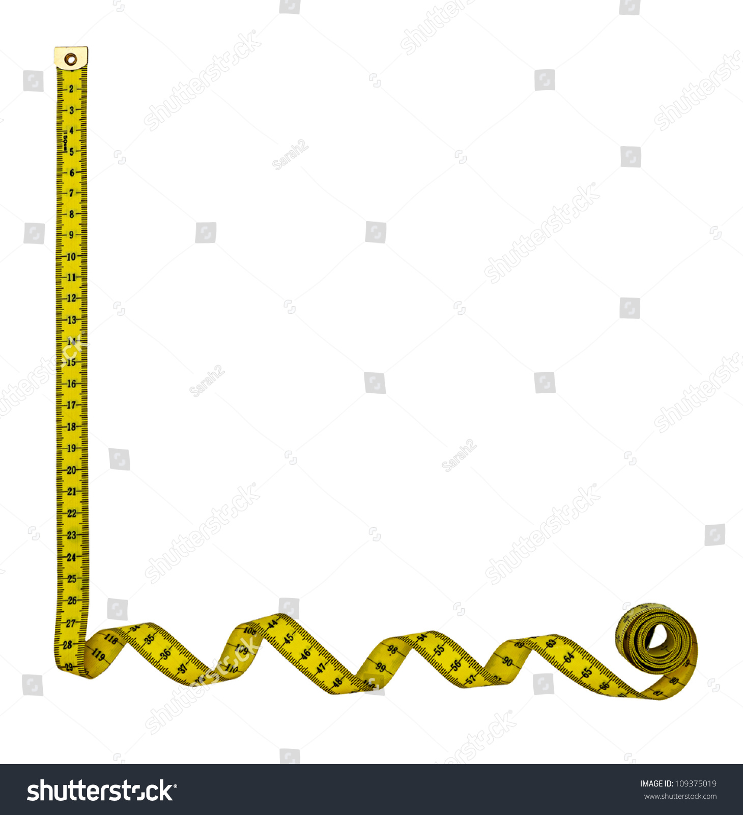 Tape measure border frame - left hand corner, isolated over white - Tape Measure Border PNG