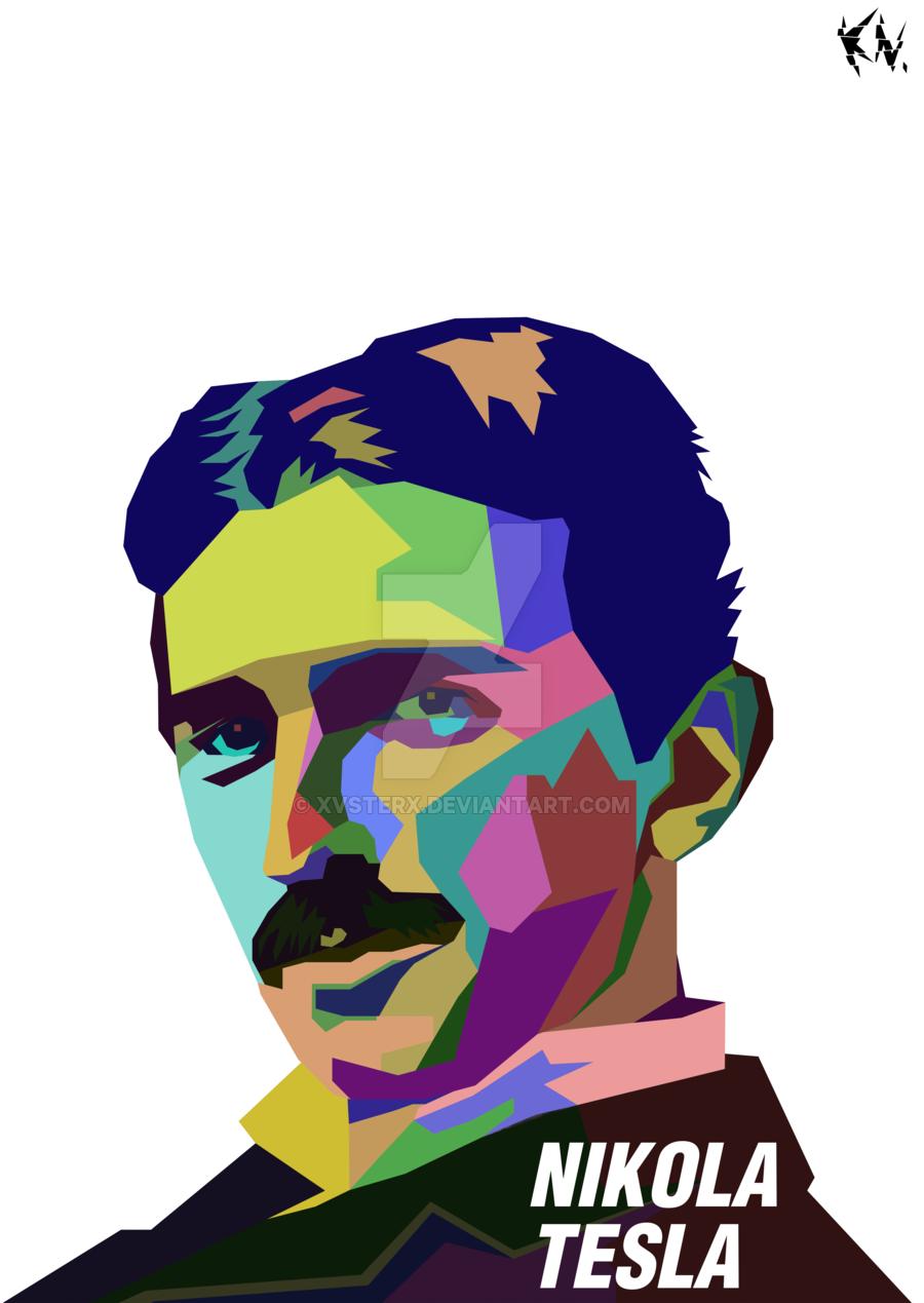 . PlusPng.com Nikola Tesla in WPAP by xVSTERx - Tesla Vector PNG
