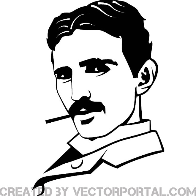Nikola Tesla Portrait Free Vector. - Tesla Vector PNG