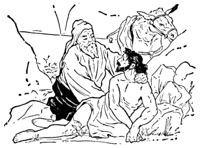 Good Samaritan BW -  /religion_mythology/new_testament/illustrations_3/Good_Samaritan_BW.png.html - The Good Samaritan PNG