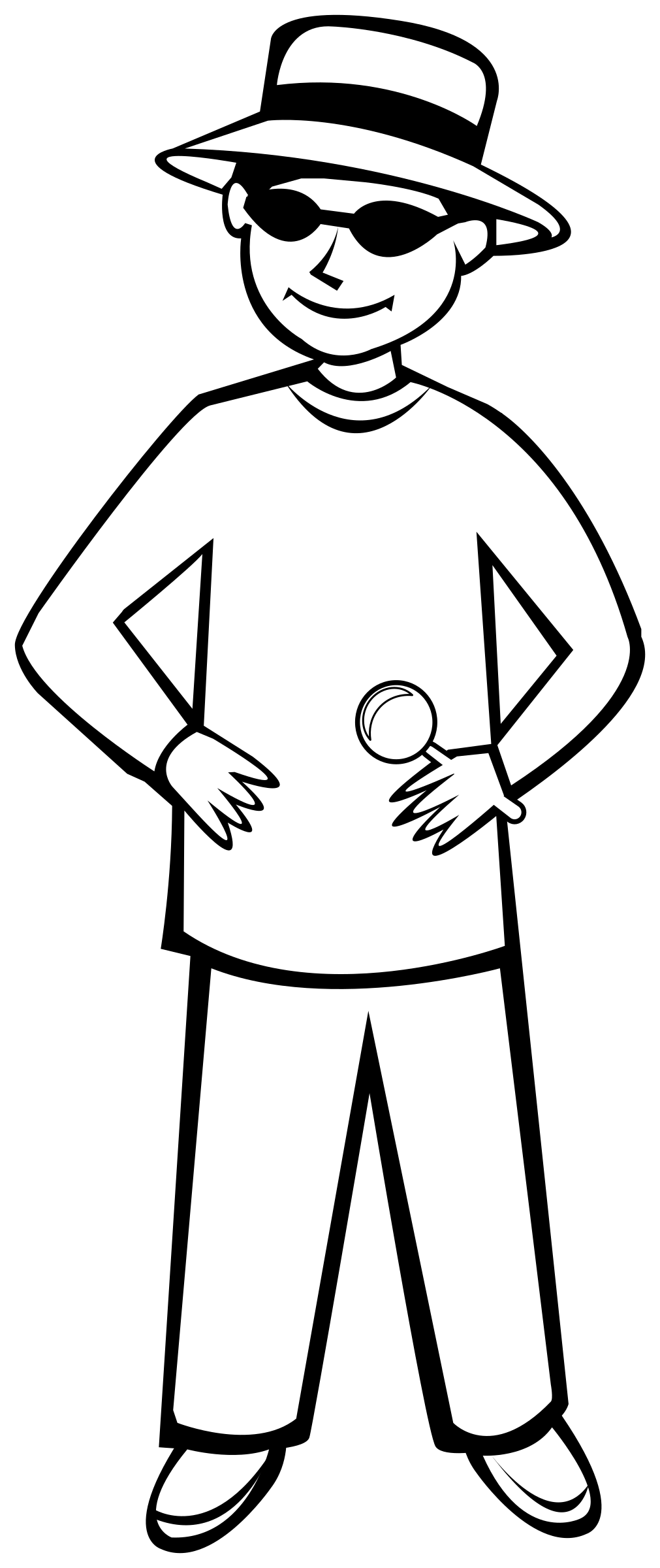 This free Icons Png design of Spy Kid Outline 1 PlusPng.com  - Thin Boy PNG Black And White