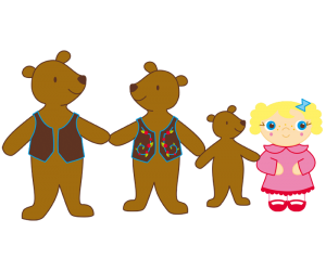 Goldilocks and the bear family, all together - Three Bears PNG