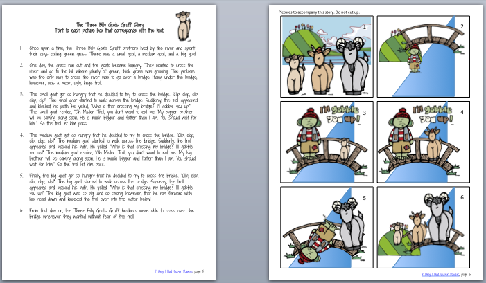 Narrative Assessment: Transcription page. Story Comprehension Questions  Story Retell Rubric - Three Billy Goats Gruff PNG