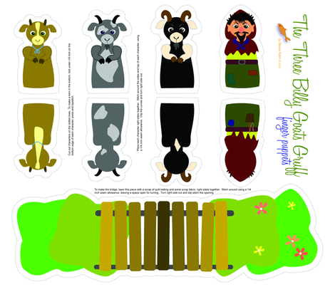 Three Billy Goats Gruff Finger Puppets fabric by beckarahn on Spoonflower -  custom fabric - Three Billy Goats Gruff PNG