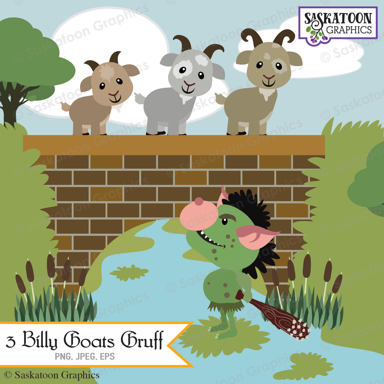 three billy goats gruff clipa