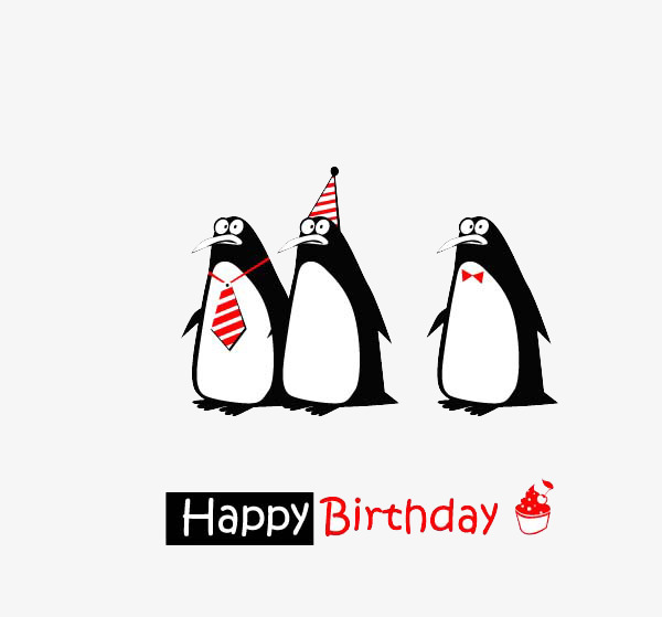Three penguins Happy Birthday buckle creative HD Free Free PNG - Three HD PNG
