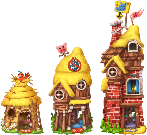 Fairytales House 3 Little Pigs Level 1to3.png - Three Little Pigs PNG HD