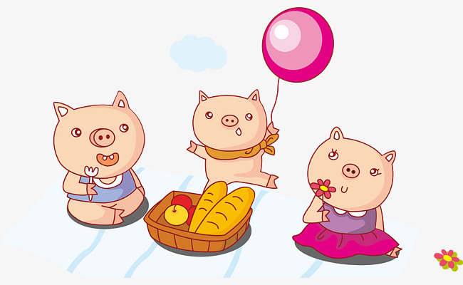 Three Little Pigs cartoon vector, Bread, Outing, Picnic Free PNG and Vector - Three Little Pigs PNG HD