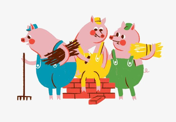 three little pigs, Illustration, Hand Painted, Cartoon PNG Image and Clipart - Three Little Pigs PNG HD