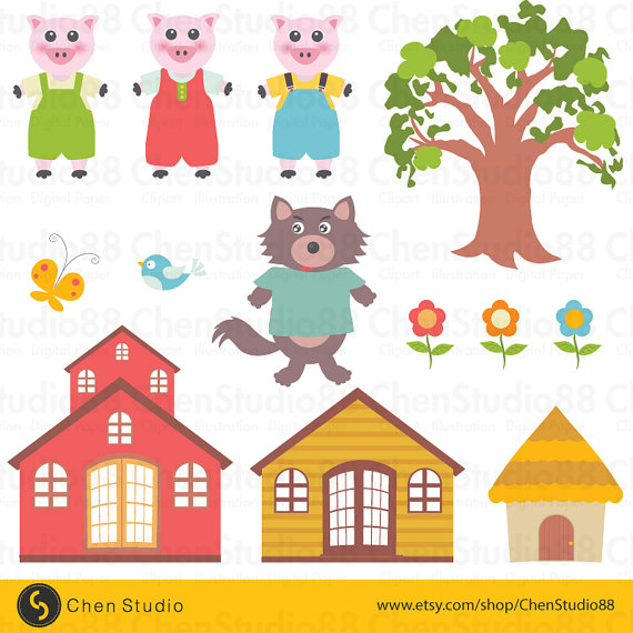 Three little pigs vector - Digital Clipart - Instant Download - EPS, PNG  files included from ChenStudio88 on Etsy Studio - Three Little Pigs PNG HD