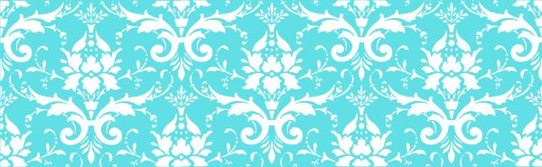 Tiffany Blue White Damask SVG Clip arts 600 x 185 px - Tiffany Blue PNG