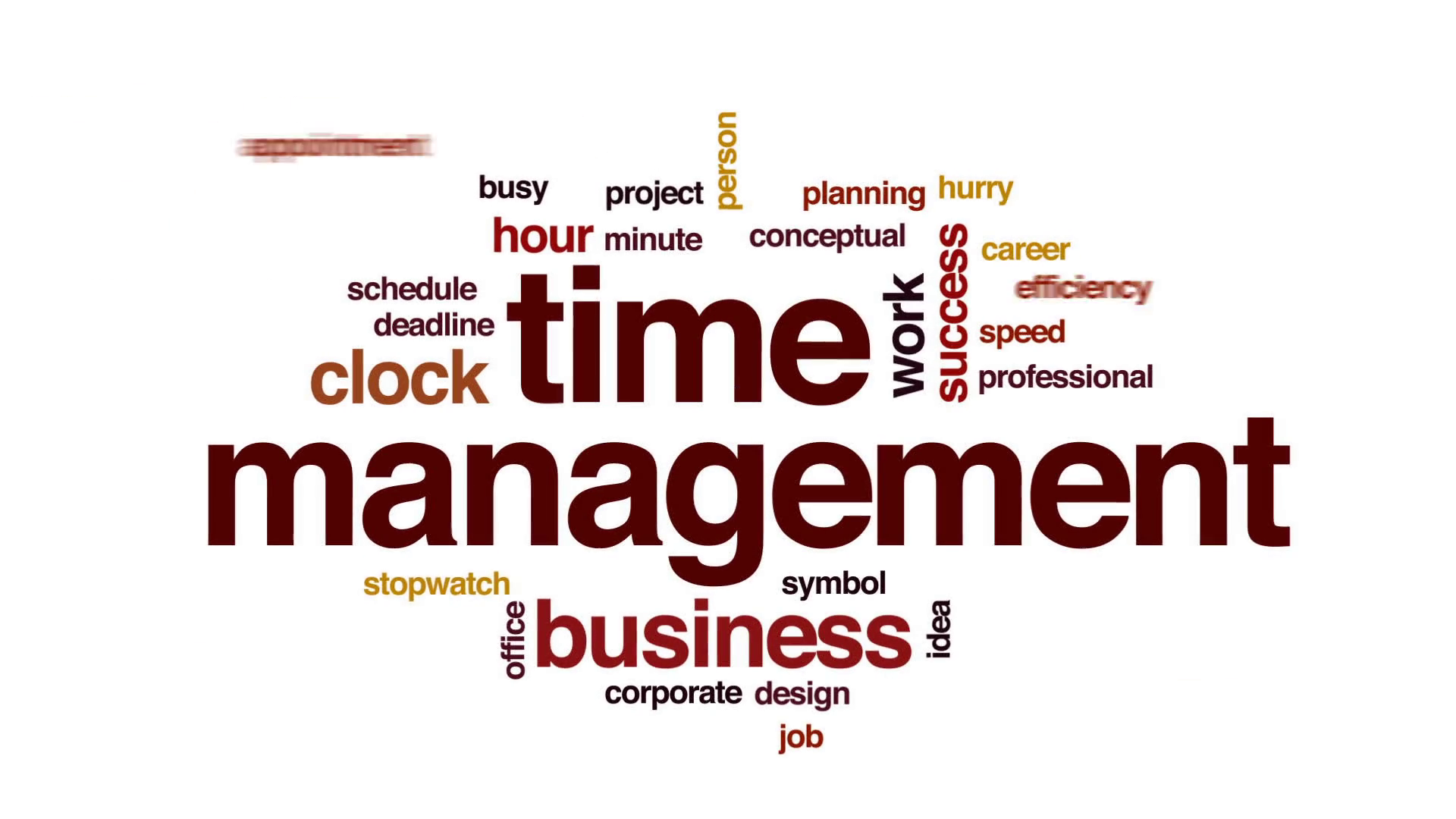 Time management animated word cloud, text design animation. Motion  Background - VideoBlocks - Time Management PNG HD