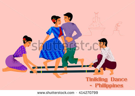 Vector design of Couple performing Tinikling dance of Philippines - Tinikling PNG
