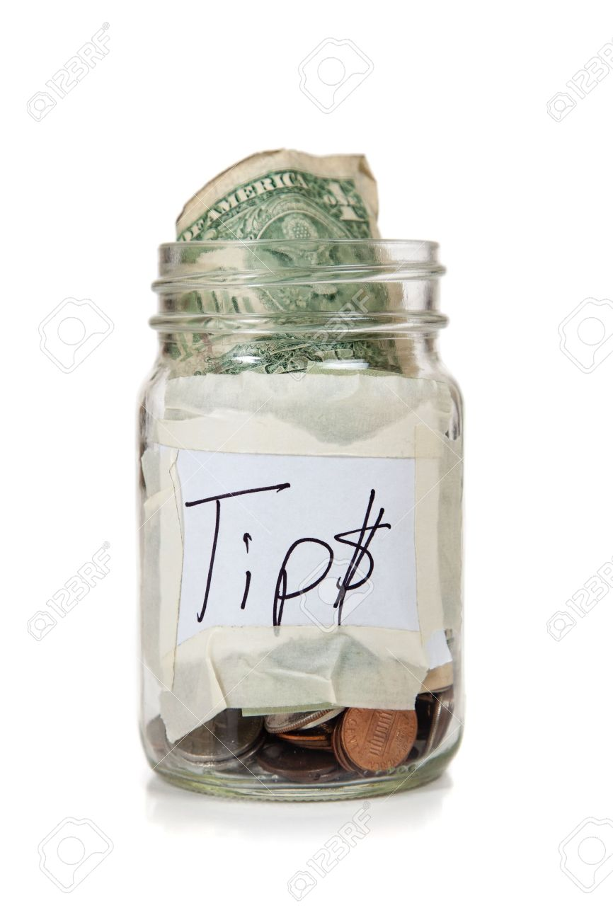 a tip jar with coins and bills Stock Photo - 5635722 - Tip Jar PNG