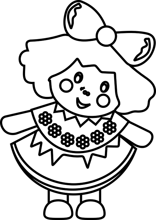 doll girl toy childhood cartoon kid play - Toys PNG Black And White