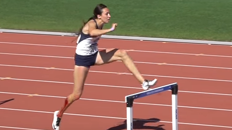 BYU hurdler incredibly finishes race after falling and cutting open her leg - Track And Field PNG Hurdles