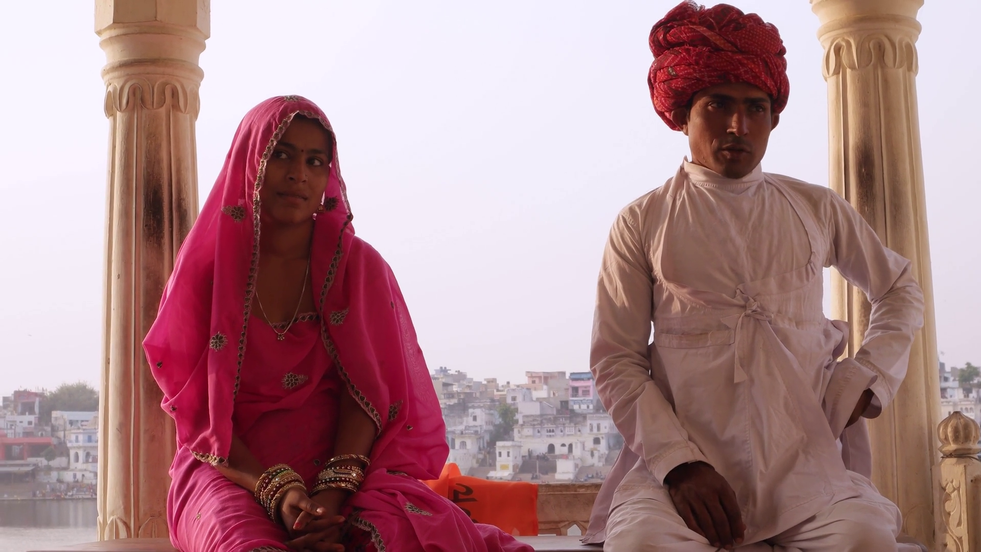 Beautiful Indian couple in traditional dress sitting with Pushkar lake in  the background, Rajasthan, India Stock Video Footage - VideoBlocks - Traditional Dress Of Rajasthan PNG