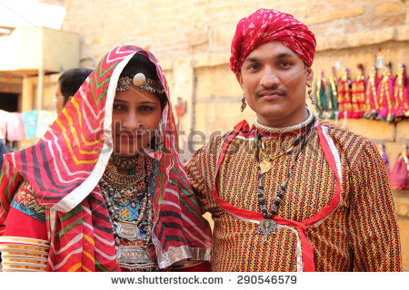 JAISALMER, INDIA - FEB 03: Unidentified Rajasthani couple dressed up in traditional  costume and - Traditional Dress Of Rajasthan PNG