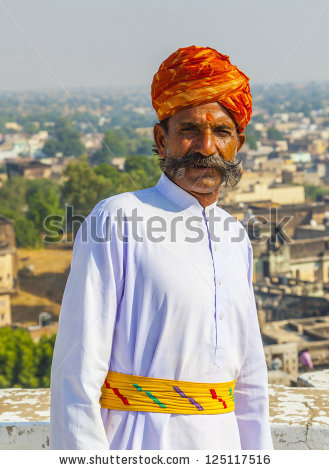 MANDAWA, INDIA - OCT 25: A Rajasthani man weas a traditional turban and  loves - Traditional Dress Of Rajasthan PNG