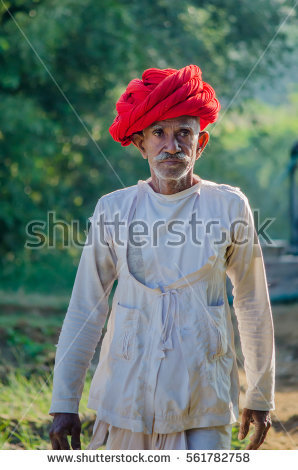 Rajasthan, India - November 20, 2016: Rajasthani senior man at his farm, - Traditional Dress Of Rajasthan PNG