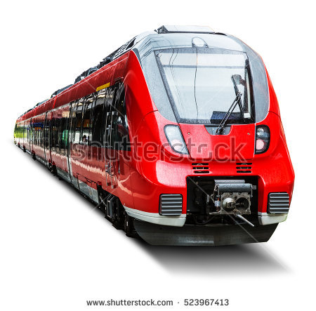 Creative abstract railroad travel and railway tourism transportation  industrial concept: red modern high speed passenger - Train HD PNG