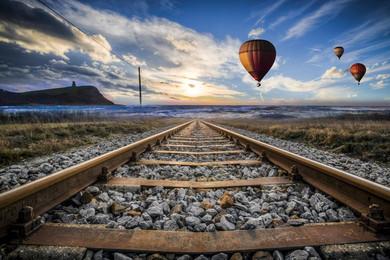 hd train tracks small fresh background, Travel Journey, Train Tracks, Sky,  Background - Train Track PNG HD